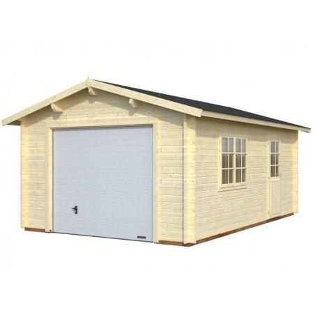 garaje de madera con puerta basculante