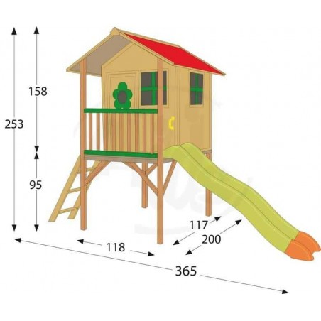 Casita de madera en altura para juegos, con tobogan