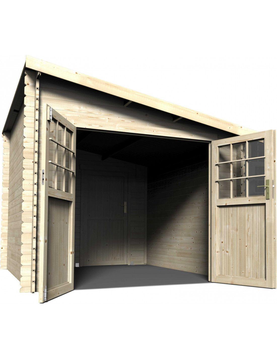 Caseta de madera adosada esprit for Cobertizos y casetas