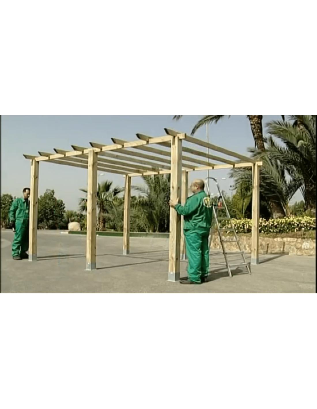 P rgola de madera 14 4 m postes 12 cm - Postes de madera para pergolas ...