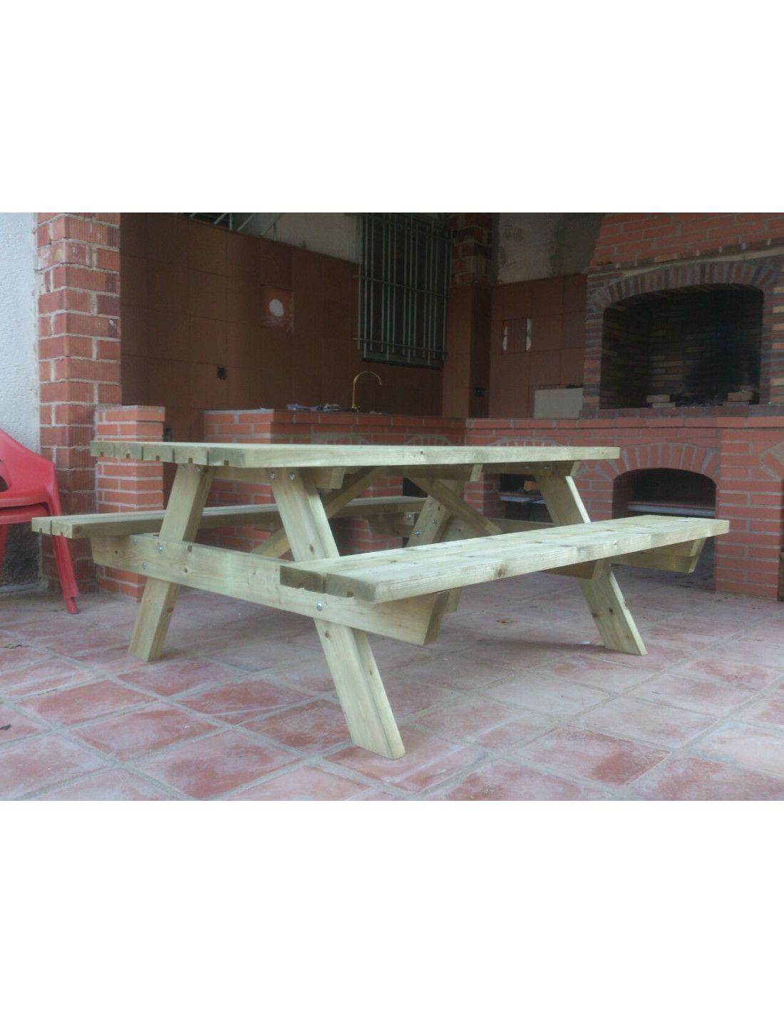 Mesa de madera picnic ruby palmako for Mesa de picnic madera