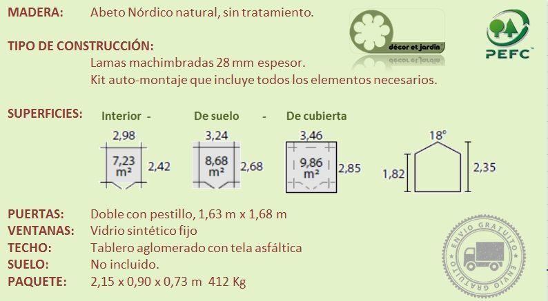 Ficha técnica Caseta de madera Hortum