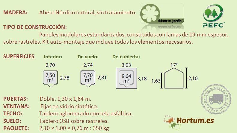 Ficha técnica caseta madera Claret