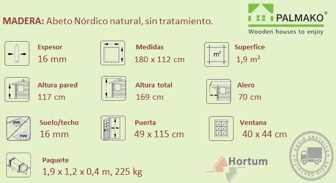 Ficha técnica para casita de madera modelo Felix