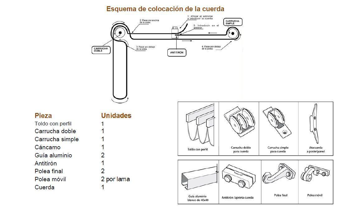 Toldo palillero para pergola modelo mallorca de 4 x 3 m for Poleas dobles para toldos