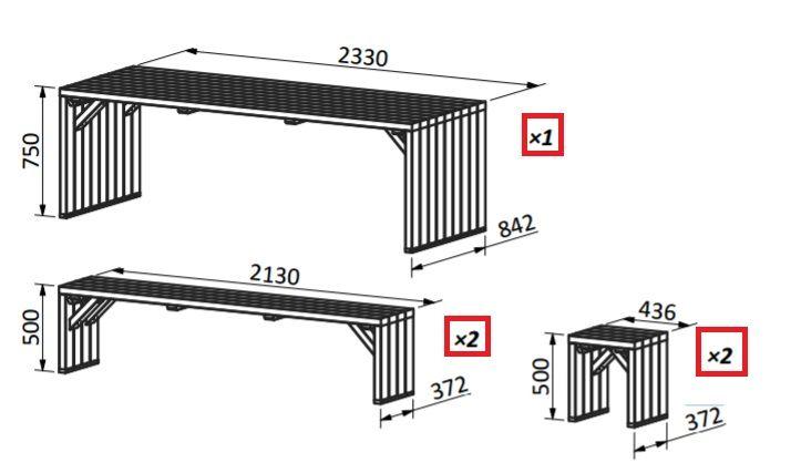 Medidas para la mesa y conjunto de bancos de madera