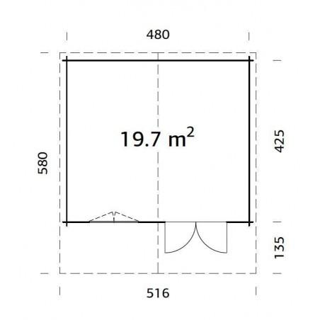 Britta, 40 mm, 500 x 445 cm. 22.25 m²