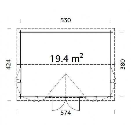 Claudia, 44 mm, 550x400 cm. 22 m²