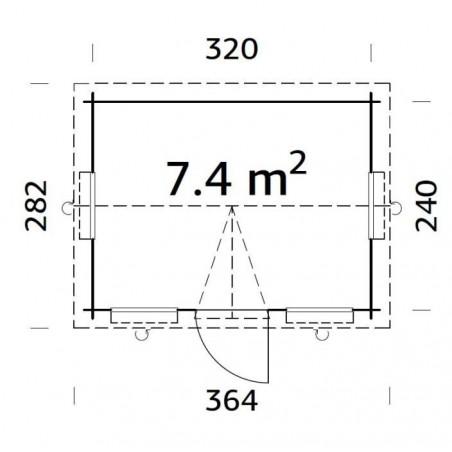 Claudia, 28 mm,  340x260 cm. 8.84 m²