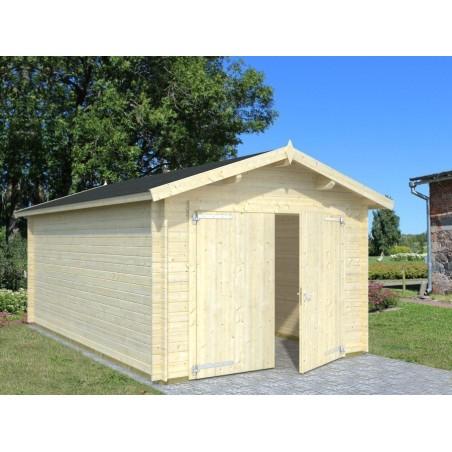 garaje de madera  con puerta cochera