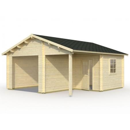 Garaje de madera sin puerta Somo. 44 mm. 530 x 570 cm, 30.21 m²