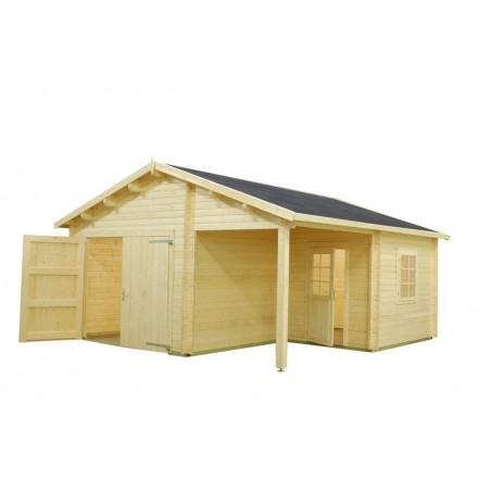 garaje de madera con puerta