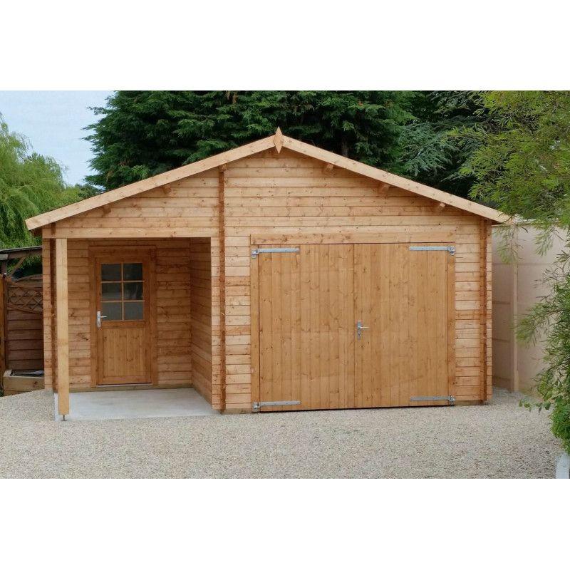 Garaje de madera Somo con puerta cochera