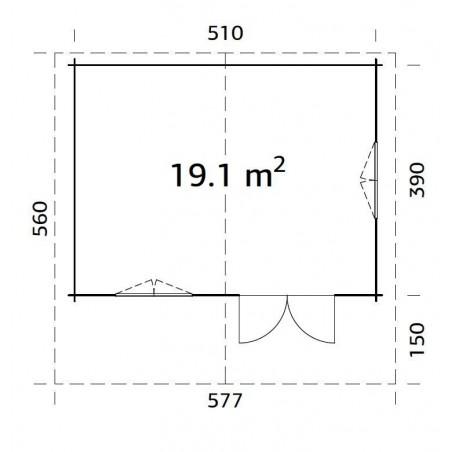 Plano cabaña de madera Sally 19.1 m²