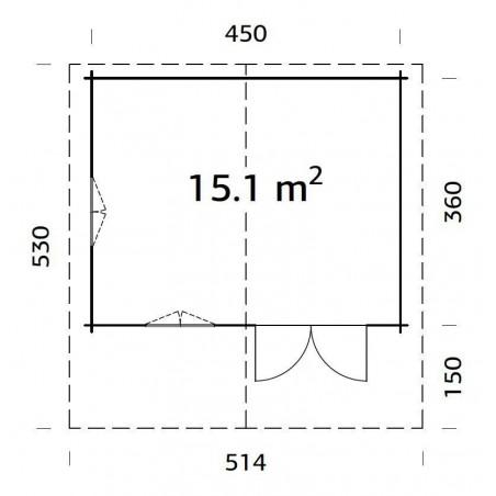 plano cabaña de madera Helena 15.1 m²