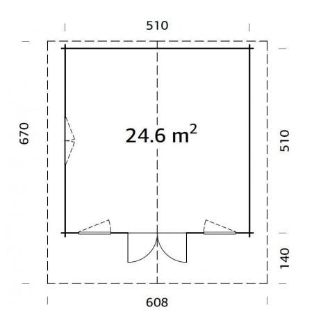 Plano cabana de madera Helena 24.6 m²