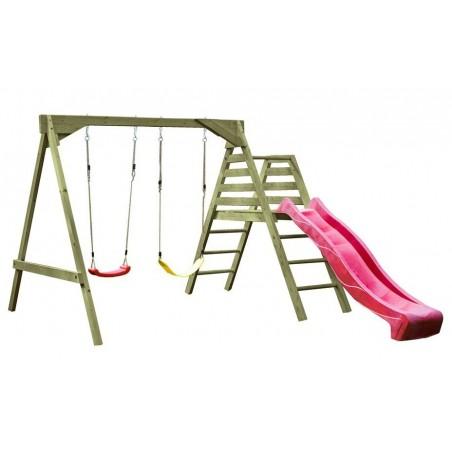 Parque infantil de madera con tobogán rojo Carmen 295x235x201cm