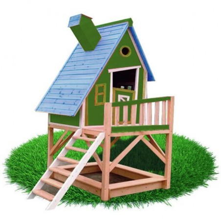 Casita madera con arenero Pinocho. Color verde.