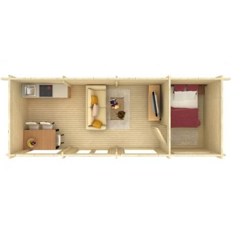 interior caseta de madera prefabricada Heidi Plus