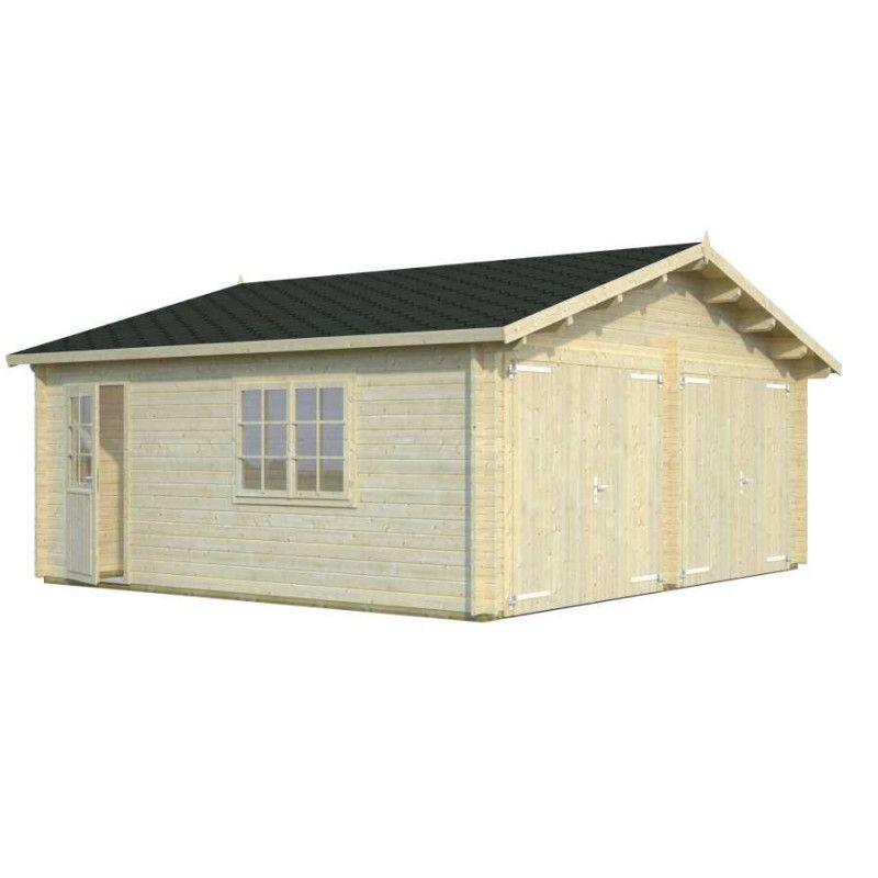 Garaje de madera doble acceso con puerta frontal madera