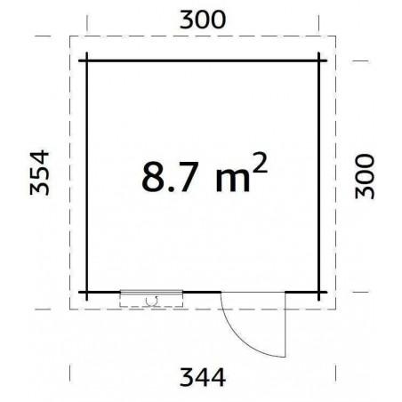Medidas Caseta de madera techo plano mod. SANTA