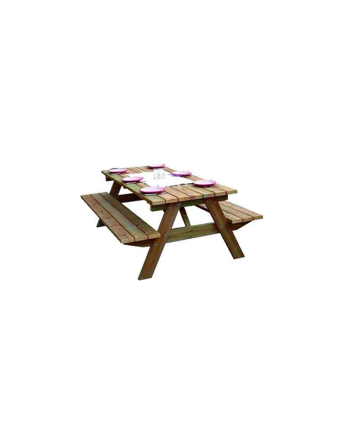 Mesa de madera picnic campestre 3 for Mesa de picnic madera