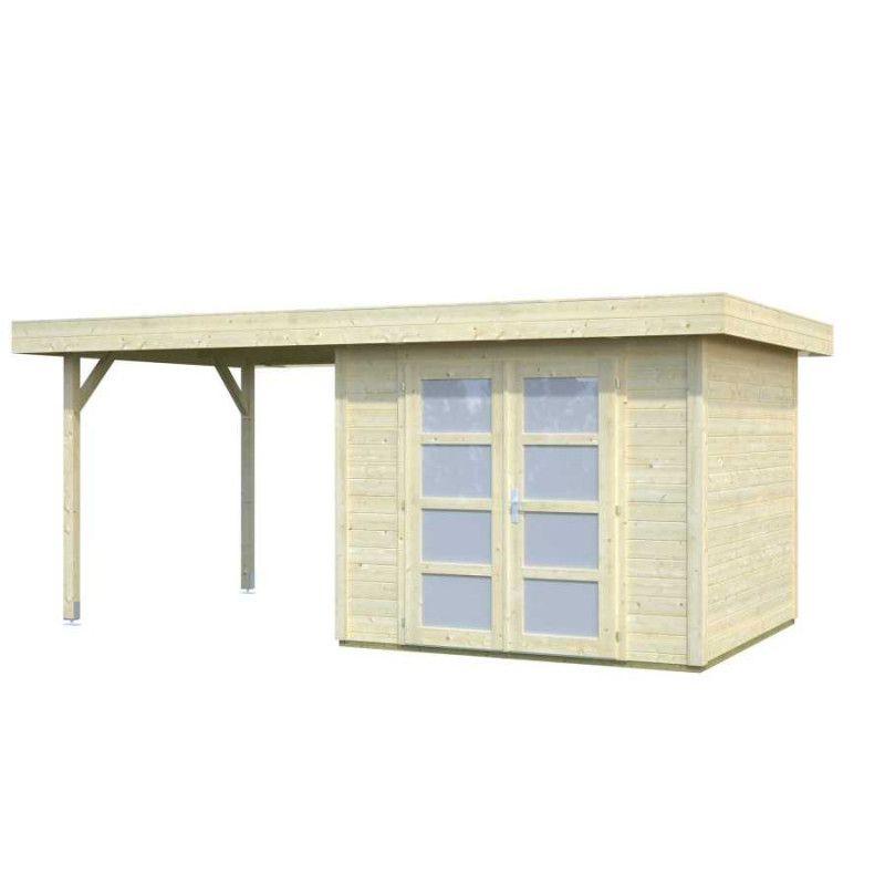 Caseta de madera techo recto + porche lateral