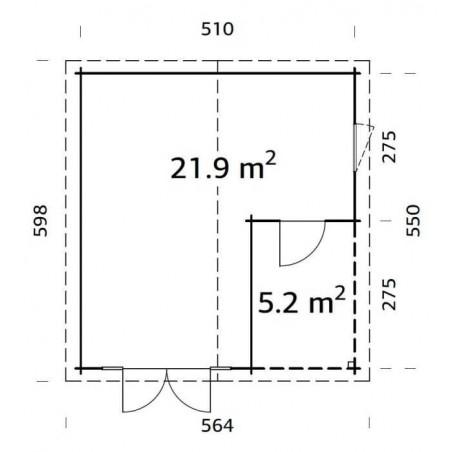 Irene, 44 mm, 530 x 570 cm, 21.9 + 5.2 m²