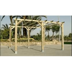 Pérgola madera 400x360cm. Postes 12x12cm