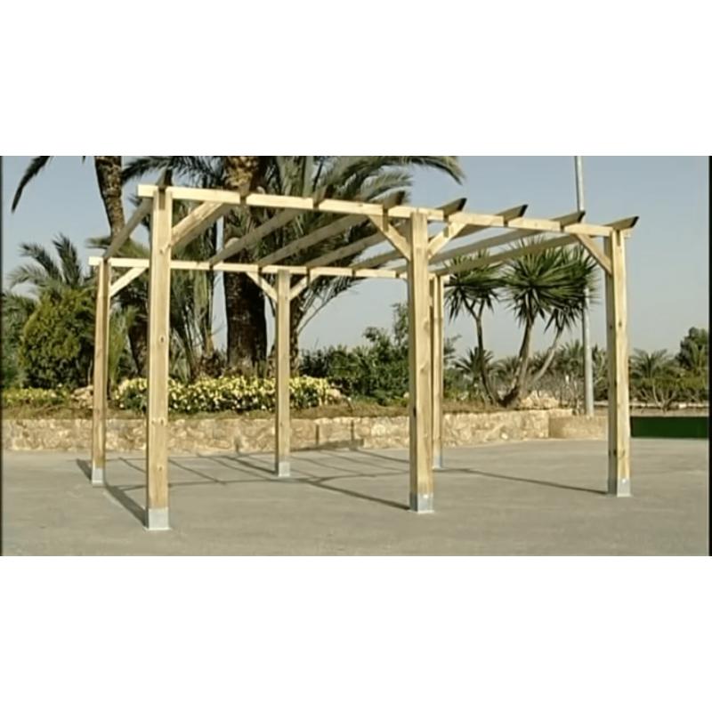 P rgola de madera 14 4 m postes 12 cm - Postes para pergolas ...