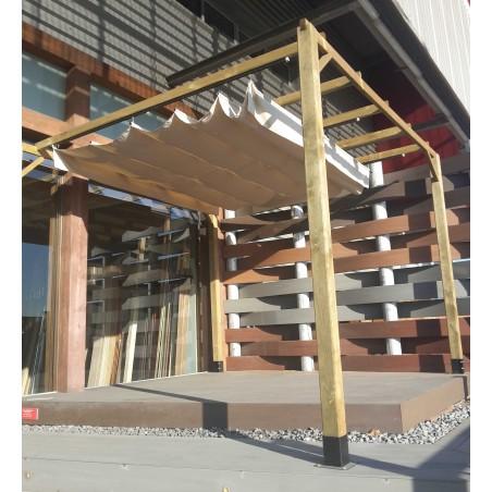 Pérgola madera 400x300 cm + toldo corredero