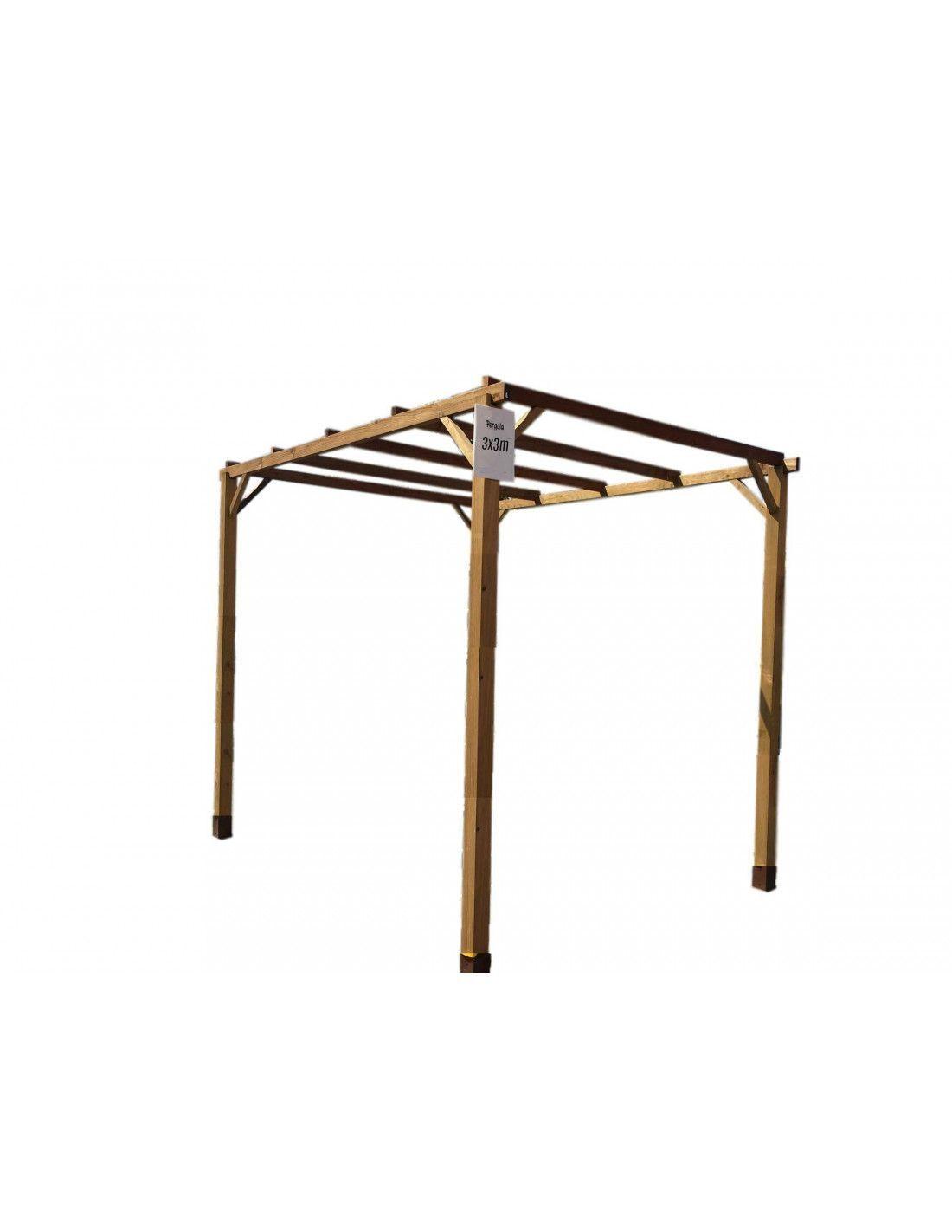 Pergola de madera 3x3 m - Postes de madera para pergolas ...