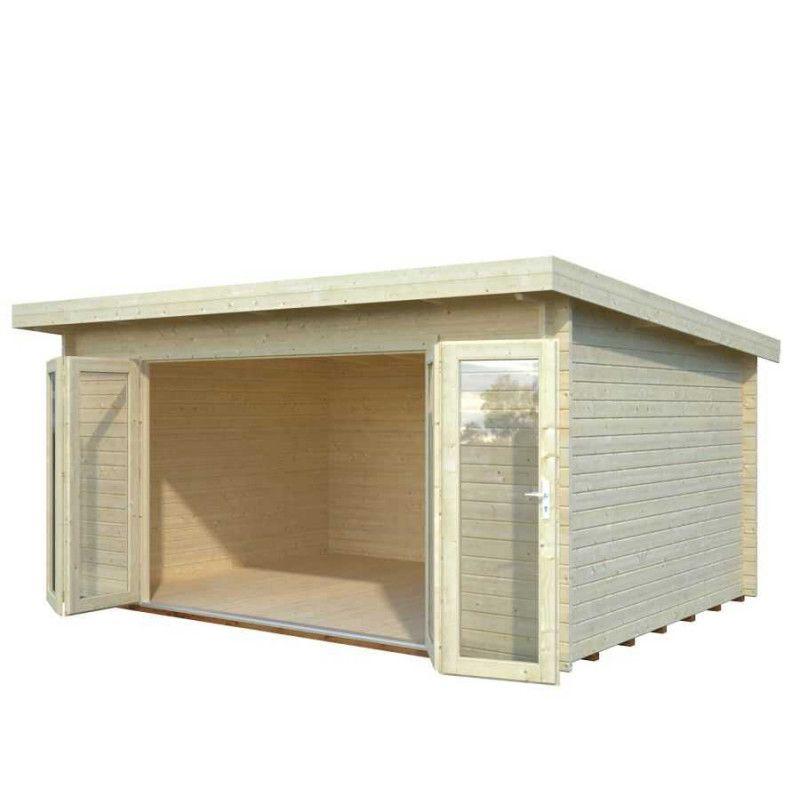 Caseta madera Lea, 44 mm, 450 x 330 cm. 14.2m² Puertas plegables