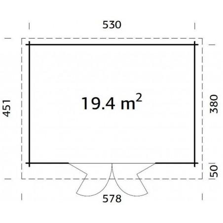 Lea, 44 mm, 530 x 380 cm. 19.4m²