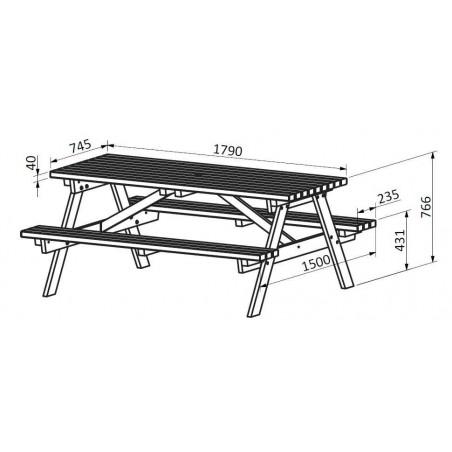 Medidas Mesa de picnic madera 40 mm,
