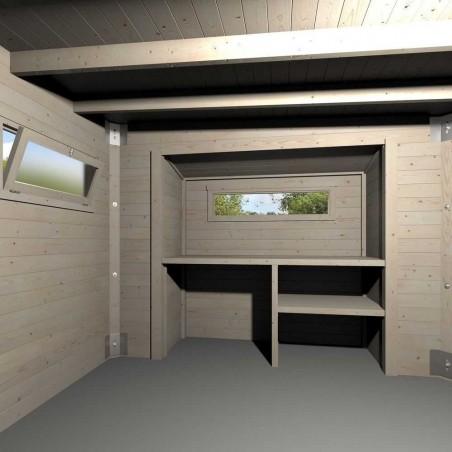 interior Caseta de madera Brean, techo plano