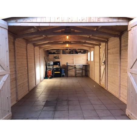 Garaje de madera Mikhail II con aceite protector Hortum y techado Onduvilla