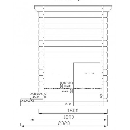 Medidas Caseta WC.44mm, 160x160cm,
