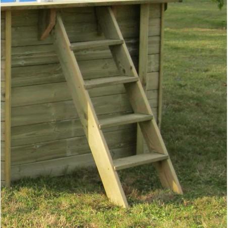 Escalera de madera para salidia piscina prefabricada rectangular 800x400cm