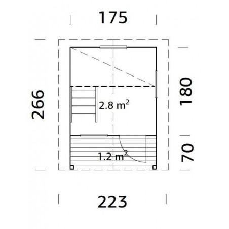Medidas Casita infantil Elina, 175x180 (250 cm) - Palmako 2018