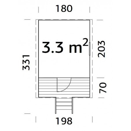 Medidas - Casita infantil Huck, 180x203( 271) cm