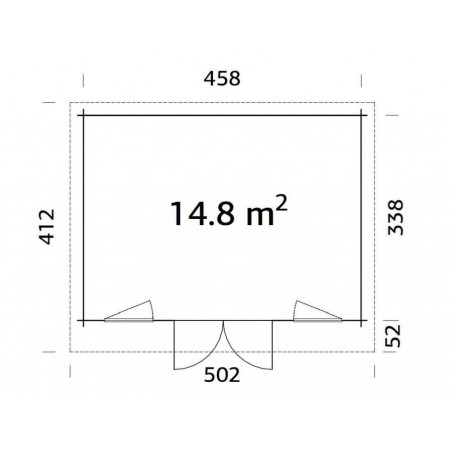 Medidas Caseta mader Bret, 44 mm, 478x358 cm. 17,11m²