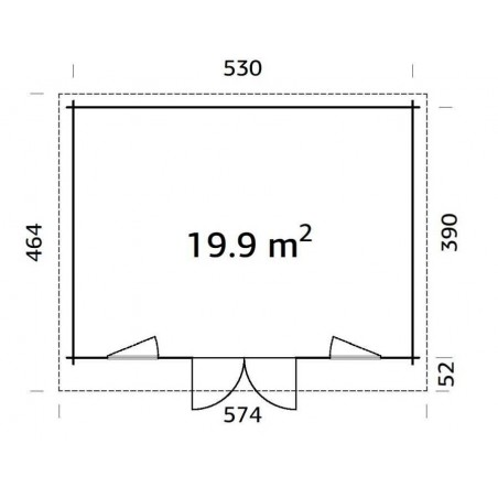 Caseta madera Bret, 44 mm, 550x410 cm 22.55m²
