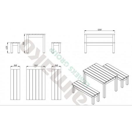 Medidas mesa Sanne12. 74x120 cm, con bancos