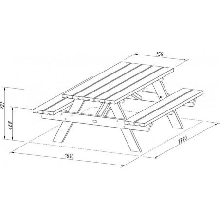 Medidas mesa de madera para exterior Ruby