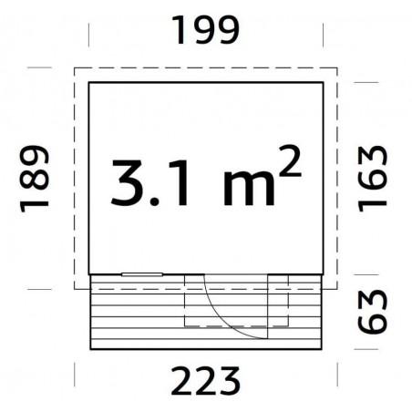 Medidas casita infantil Harry, 199 x 223 cm