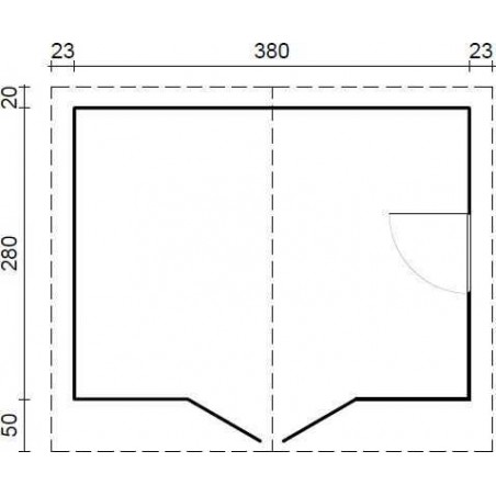 Caseta de madera Elbe. 34 mm, 400 x 300 cm, 12 m²