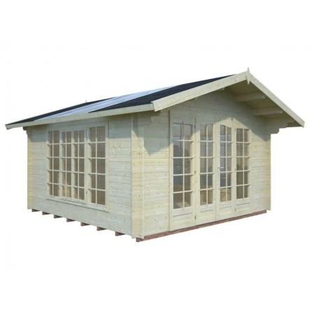 Caseta de madera con techo traslucido