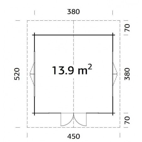Medidas - Caseta de madera con techo traslucido