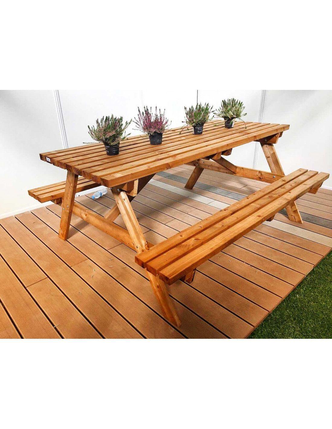 Mesa de picnic madera 40mm x - Mesa de jardin de madera ...